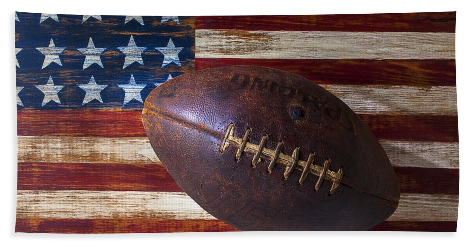 Football Hand Towel featuring the photograph Old Football On American Flag by Garry Gay