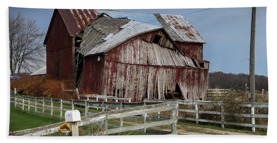 Art Hand Towel featuring the photograph Old Forlorn Decrepid Wooden Barn by Randall Nyhof
