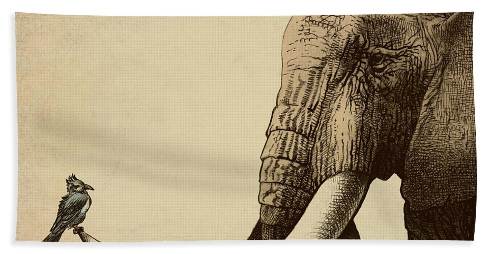 Elephant Bath Towel featuring the photograph Old Friend by Eric Fan