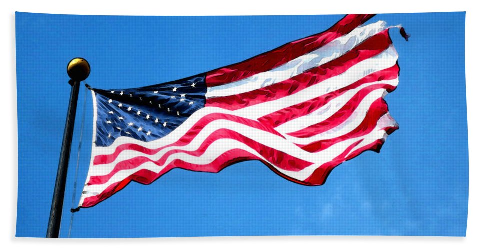 Flag Hand Towel featuring the painting Old Glory - American Flag By Sharon Cummings by Sharon Cummings