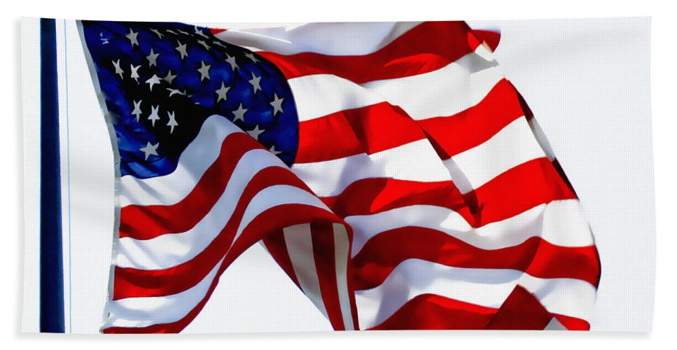 Flag Bath Sheet featuring the photograph America The Beautiful Usa by Carol F Austin