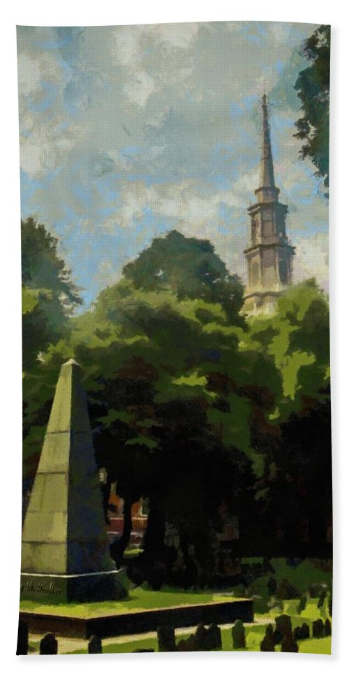 Cemetery Bath Sheet featuring the painting Old Granery Burying Ground by Jeffrey Kolker