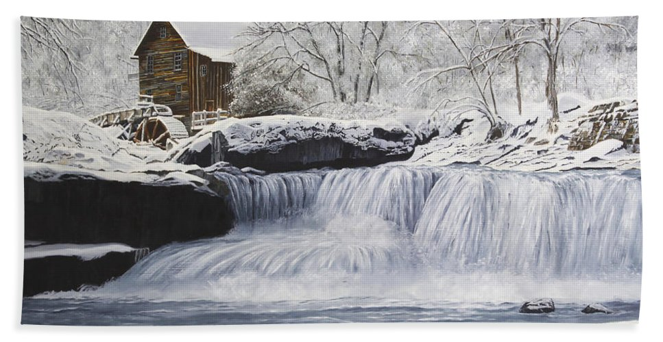 Winter Bath Sheet featuring the painting Old Grist Mill by Johanna Lerwick