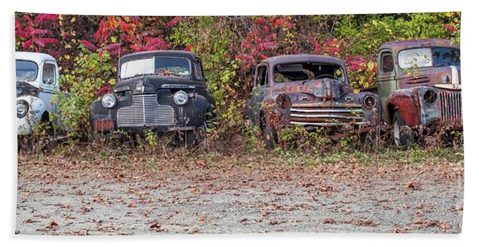 Automobile Bath Sheet featuring the photograph Old Guys Rule Panoramic by Edward Fielding