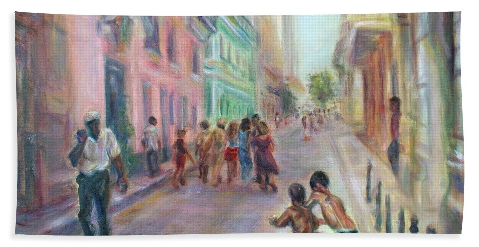 Impressionism Hand Towel featuring the painting Old Havana Street Life - Sale - Large Scenic Cityscape Painting by Quin Sweetman