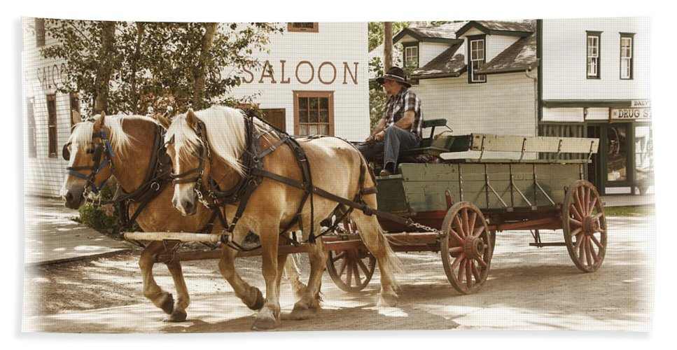 Art Bath Sheet featuring the photograph Old Horse Drawn Wagon At Fort Edmonton Park by Randall Nyhof