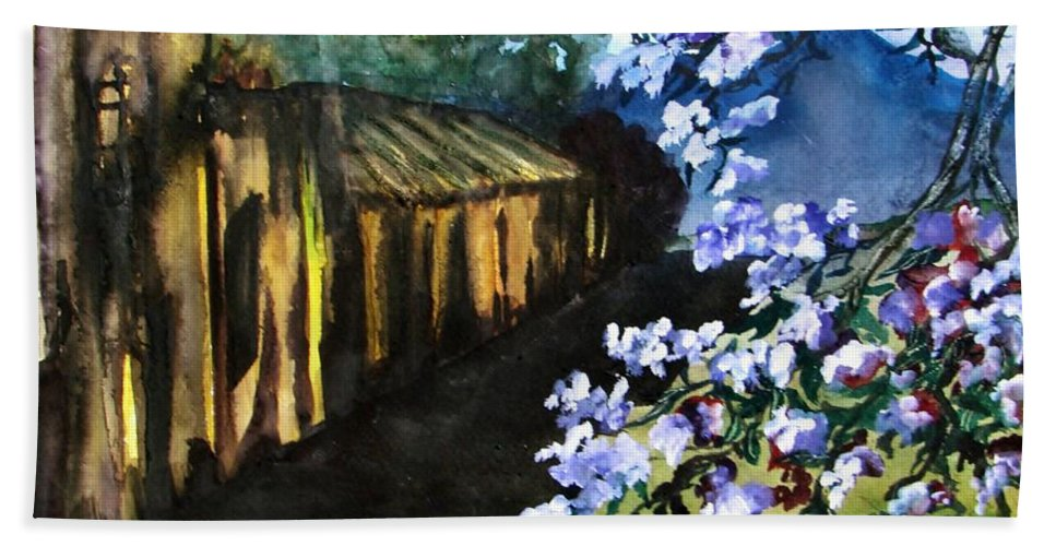 Flowers Hand Towel featuring the painting Old House And New Flowers by Lil Taylor