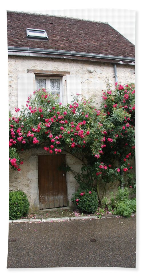 Rose Hand Towel featuring the photograph Old House Covered With Roses by Christiane Schulze Art And Photography