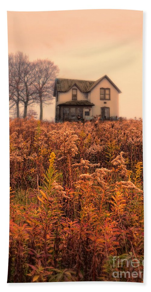 House Bath Sheet featuring the photograph Old House In Weeds by Jill Battaglia