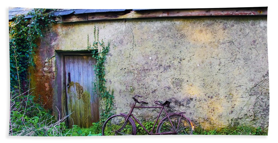 Old Hand Towel featuring the photograph Old Irish Cottage With Bike By The Door by Bill Cannon