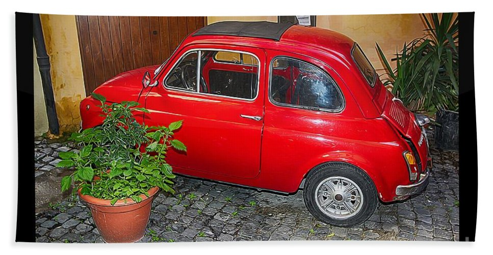 Fiat Bath Sheet featuring the photograph Old Italian Car Fiat 500 by Stefano Senise