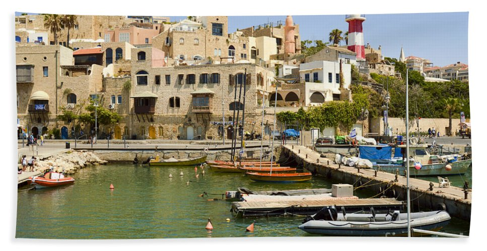 Port Bath Sheet featuring the photograph Old Jaffa Port by Tomi Junger