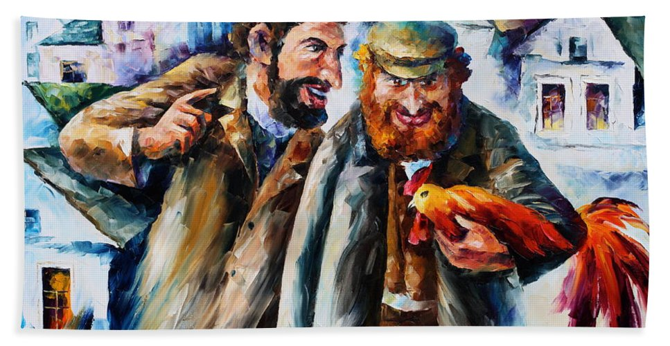 Afremov Bath Sheet featuring the painting Old Jews And A Rooster by Leonid Afremov