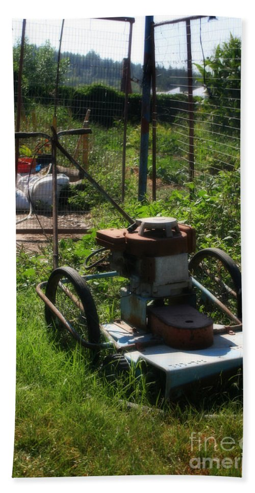 Tools Bath Sheet featuring the photograph Vintage Lawn Mower by Doc Braham