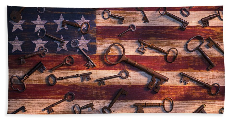 Old Bath Sheet featuring the photograph Old Keys On American Flag by Garry Gay