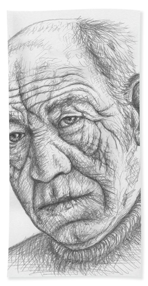 Portrait Hand Towel featuring the drawing Old Man by Nicole Zeug