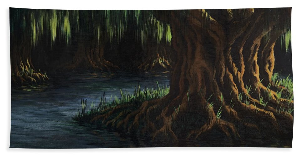 Abstract Hand Towel featuring the painting Old Man Willow by Rachel Christine Nowicki