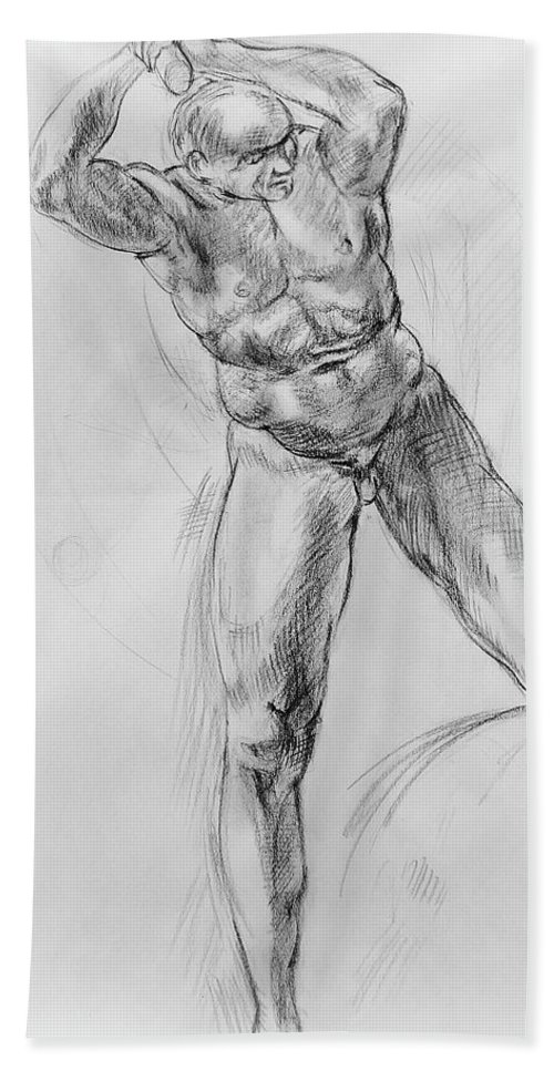 Nude Hand Towel featuring the drawing Old Masters Study Nude Man By Annibale Carracci by Irina Sztukowski