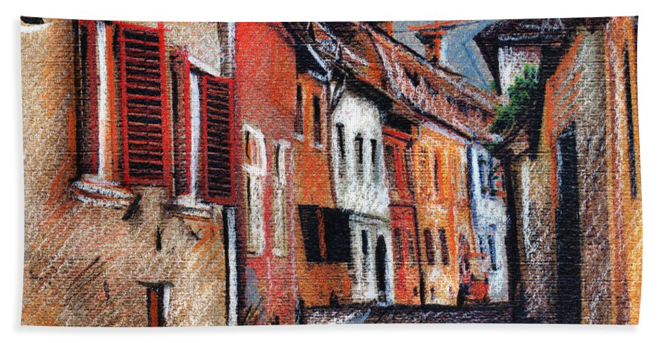Street Hand Towel featuring the drawing Old Medieval Street In Sighisoara Citadel Romania by Daliana Pacuraru