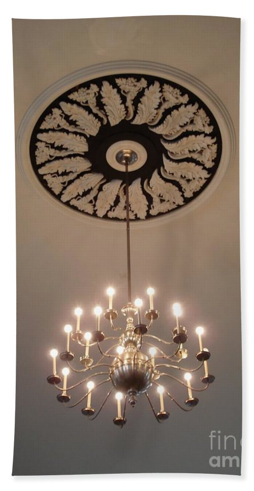 Old Hand Towel featuring the photograph Old Meeting House Chandelier by Kerri Mortenson
