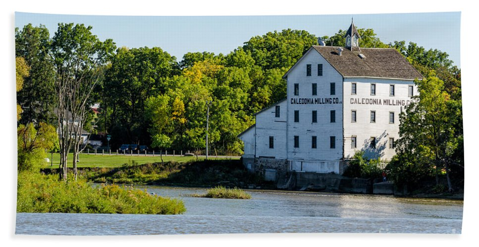 Old Bath Sheet featuring the photograph Old Mill On Grand River In Caledonia In Ontario by Les Palenik