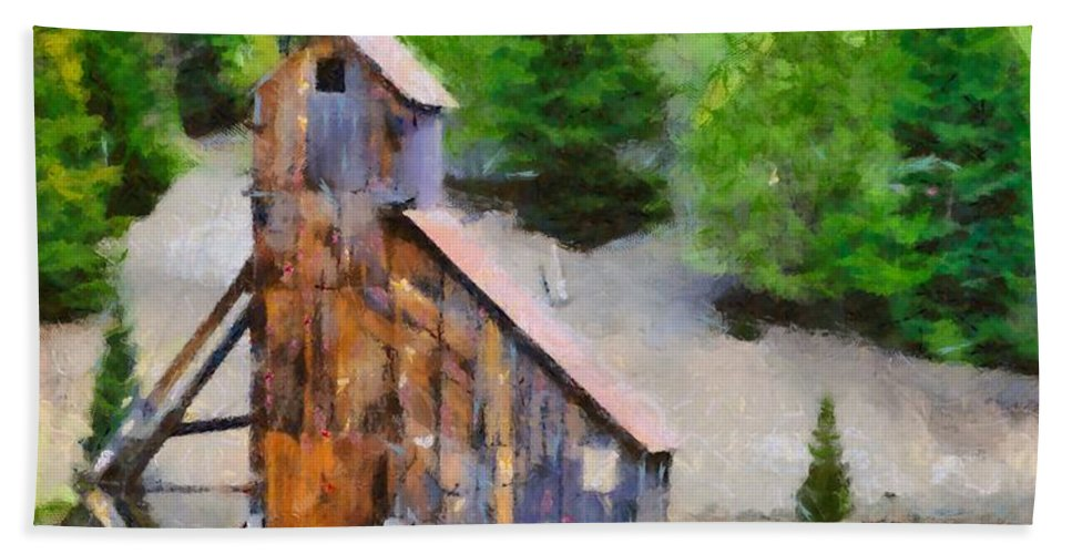Old Mining Building Silverton Colorado Bath Sheet featuring the painting Yankee Girl Mine by Dan Sproul
