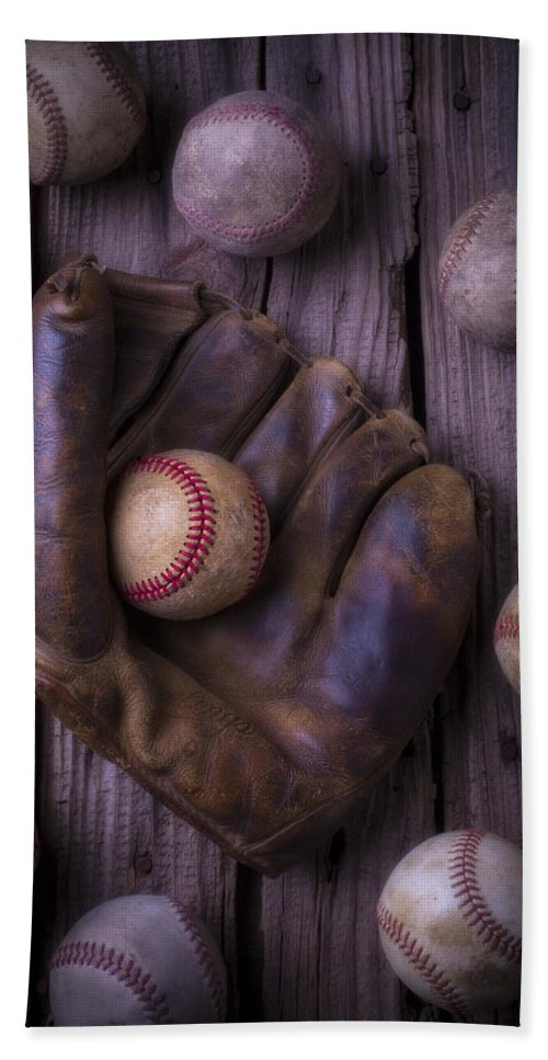 Old Hand Towel featuring the photograph Old Mitt And Worn Baseballs by Garry Gay