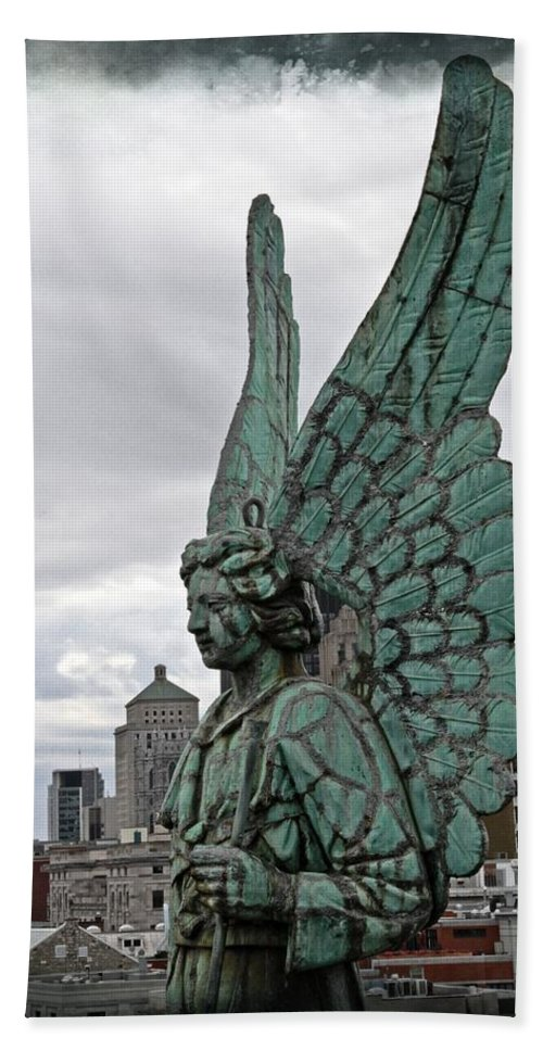 Angel Montreal Filmstrip Lorder Statue Canada Hand Towel featuring the photograph Old Montreal Angel Filmstrip by Alice Gipson