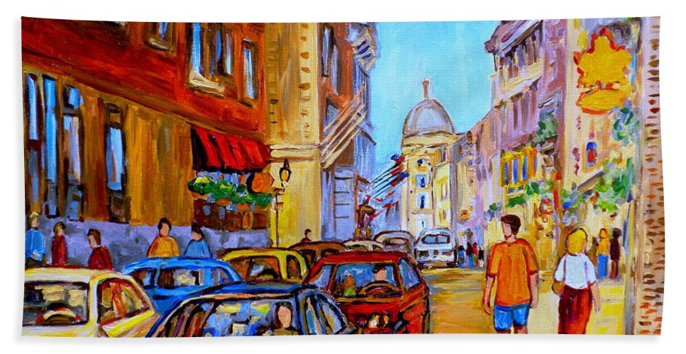Old Montreal Street Scenes Bath Sheet featuring the painting Old Montreal by Carole Spandau