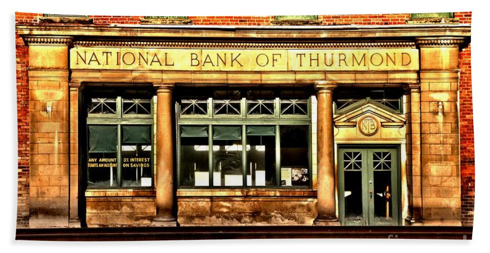 Hand Towel featuring the photograph Old National Bank Of Thurmond by Adam Jewell