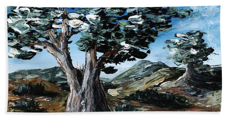 Malakhova Bath Sheet featuring the painting Old Olive Tree by Anastasiya Malakhova