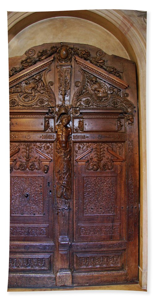 Door Bath Sheet featuring the photograph Old Ornamented Door by Christiane Schulze Art And Photography