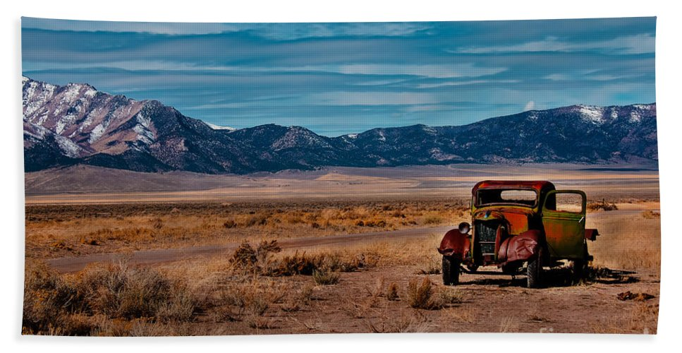 Transportation Bath Sheet featuring the photograph Old Pickup by Robert Bales