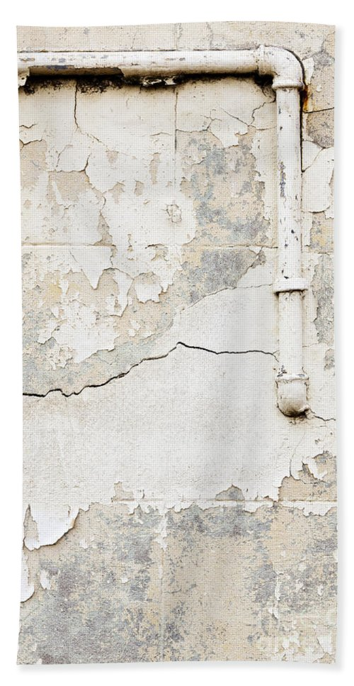 Concrete Wall Bath Sheet featuring the photograph Old Pipes Background by Tim Hester