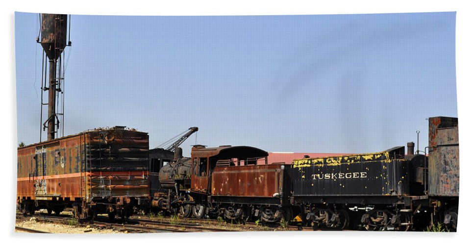 Railroad Hand Towel featuring the photograph Old Railroad Cars From The Series View Of An Old Railroad by Verana Stark
