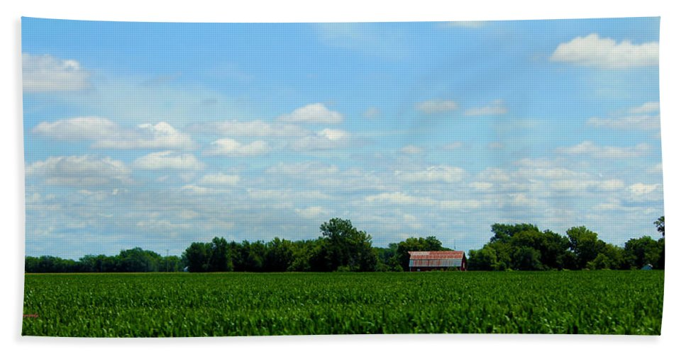 Kansas Hand Towel featuring the photograph Old Red Barn And Fields by Jeanette C Landstrom