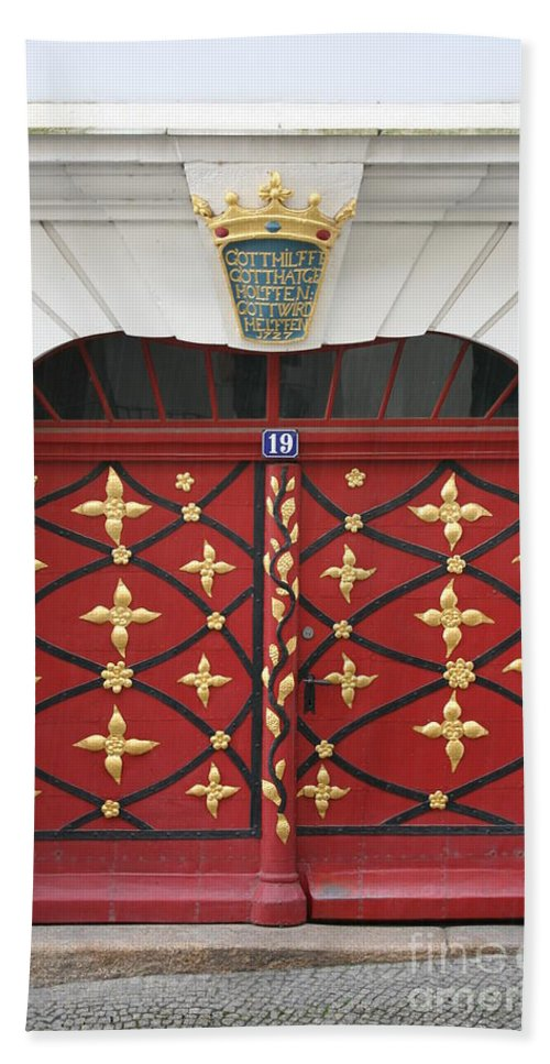 Door Hand Towel featuring the photograph Old Red Door by Christiane Schulze Art And Photography