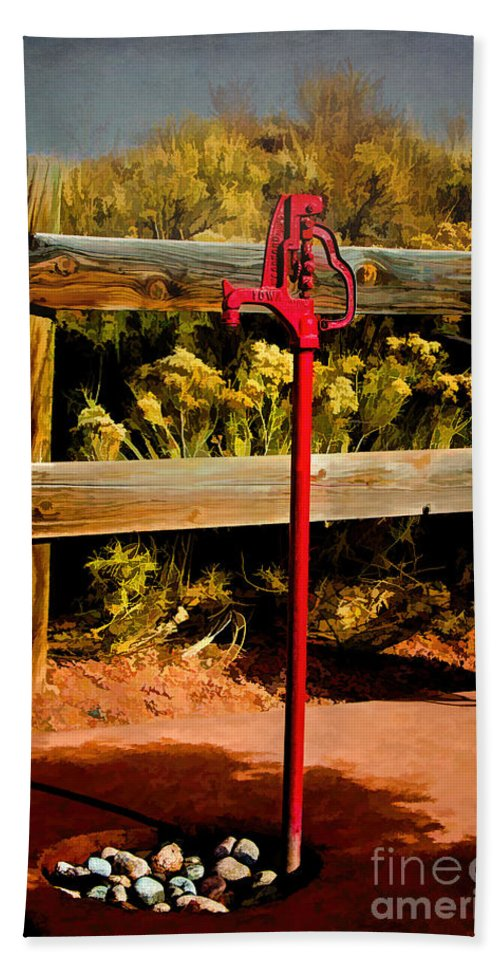 Red Pump Bath Sheet featuring the photograph Old Red Pump by Jon Burch Photography