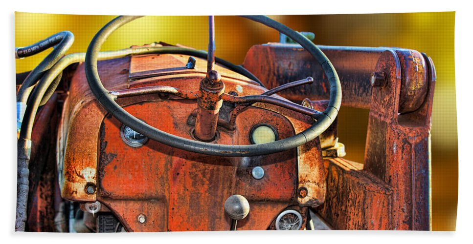 Old Tractor Bath Sheet featuring the photograph Old Red Tractor Ford 9 N by Sylvia Thornton
