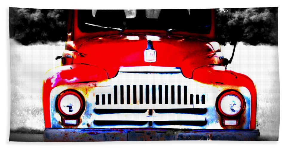 Old Bath Sheet featuring the photograph Old Red Truck by Tina Meador