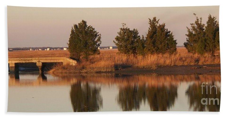 Intercoastal Water Way Hand Towel featuring the photograph Old Roads And Bridges South Jersey by Eric Schiabor