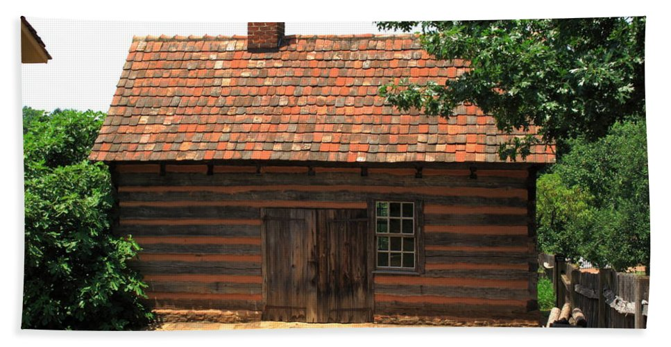 America Hand Towel featuring the photograph Winston-salem Nc - Old Salem Cottage by Frank Romeo