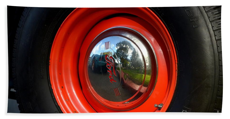 Bath Sheet featuring the photograph Old School Wheel And New Reflection by Dean Ferreira