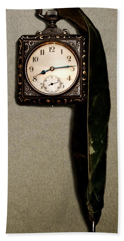 Old Square Clock Hand Towel featuring the photograph Old Square Clock by Weston Westmoreland