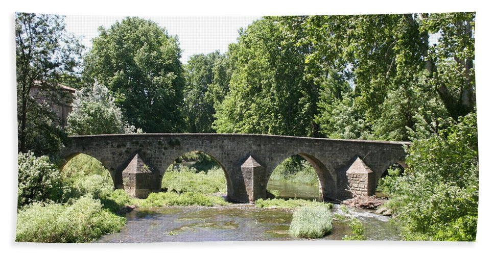 Stone Arch Bridge Bath Sheet featuring the photograph Old Stone Arch Bridge by Christiane Schulze Art And Photography