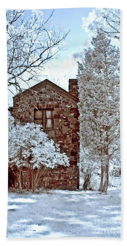 Trees Bath Sheet featuring the photograph Old Stone House by Anthony Sacco