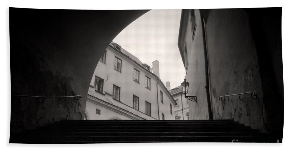 Architecture Bath Sheet featuring the photograph Old Streets In Prague by Michal Bednarek