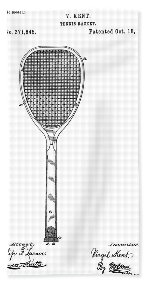 Tennis Racquet Sale >> Old Tennis Racket Patent Bath Towel For Sale By Dan Sproul