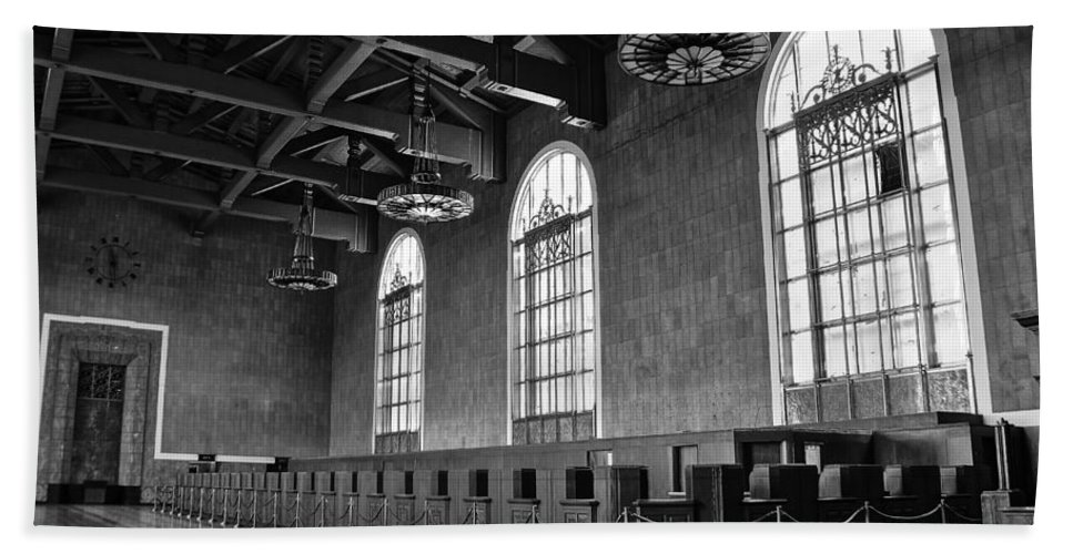Los Angeles Union Station Hand Towel featuring the photograph Old Ticket Counter At Los Angeles Union Station by Richard Cheski