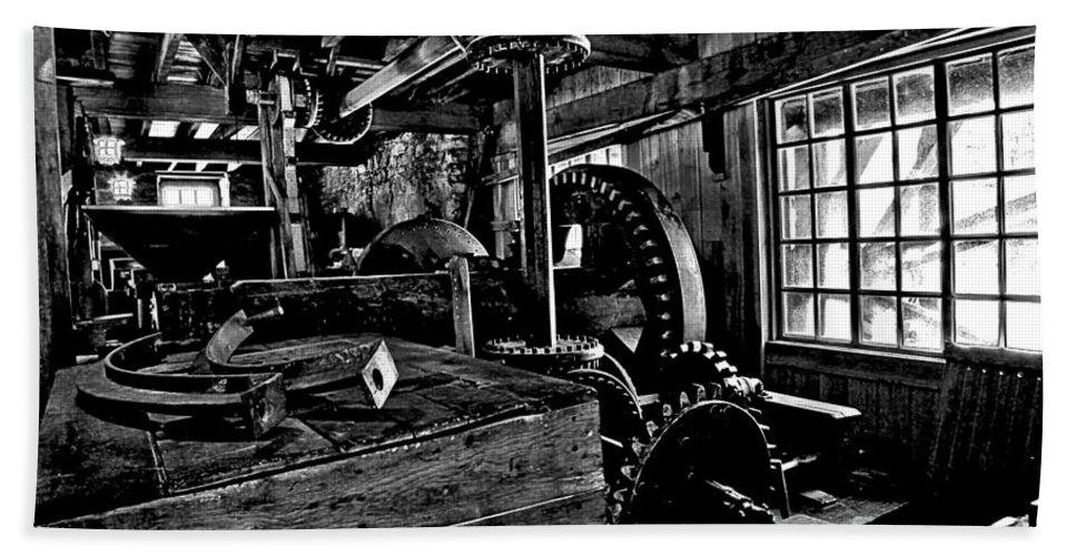Grist Mill Gears Bath Sheet featuring the photograph Old Time Gears by Adam Jewell